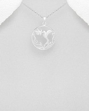 925 Sterling Silver Bird and Flower Pendant